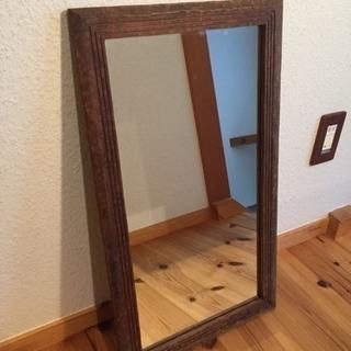 アンティーク 木枠の鏡