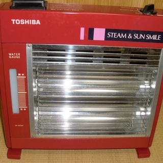 TOSHIBA/東芝■赤い小型電気ストーブ■加湿機能付■レトロ可...