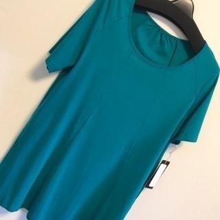 【新品】青緑 グリーン L M 2L チュニック  ロング シャツ 深緑