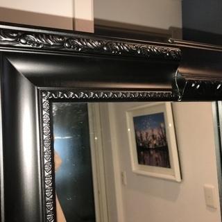 姿見鏡ミラーゴシック超高級感あり黒フレームスタンドミラー