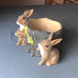 プランターポットカバー鉢受け ウサギと切り株デザイン