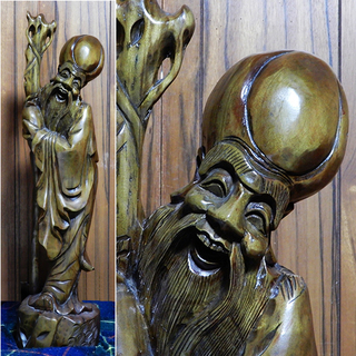 在銘! 大型 一刀彫り 福禄寿 高さ106cm