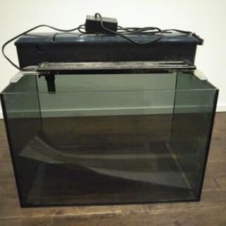 45cmガラス水槽、上部フィルター、ライトのセット