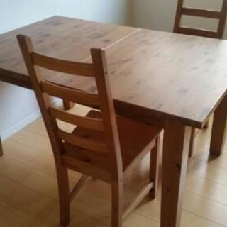 IKEA伸長式ダイニングテーブル&チェア4脚