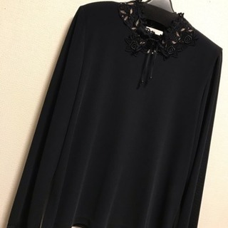 5d94185dbd82e  新品 L M カットソー 長袖 シャツ ブラウス ニット 薄手 黒 レース刺繍