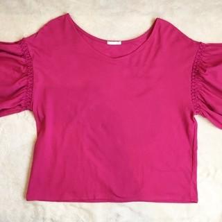 【試着のみ】GU フリルスリーブTシャツ(Mサイズ)