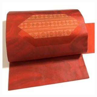 未使用 美品 上質 正絹 九寸名古屋帯 赤色 御太鼓柄 中…