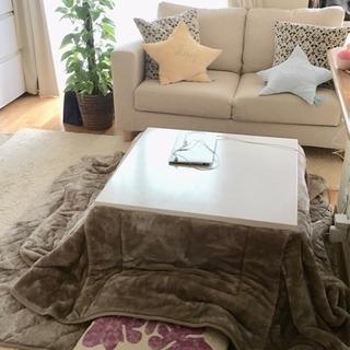 白いこたつテーブル(こたつ布団付き)