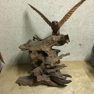 木製 置物 鷲 彫刻 ワシ インテリア 幅60cm×奥行40cm×...