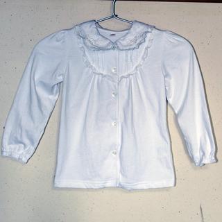 フリルレース付きトップス 女の子 110サイズ 長袖 白