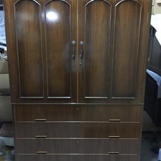 木製 大型 和タンス 箪笥 着物収納 昭和レトロ 幅124cm×奥...
