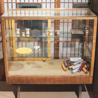 アンティークガラス棚古家具チェスト 店舗ディスプレイ陳列什器