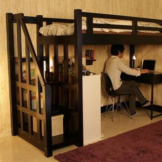 ロウヤ 木製ロフトベッド(階段付)