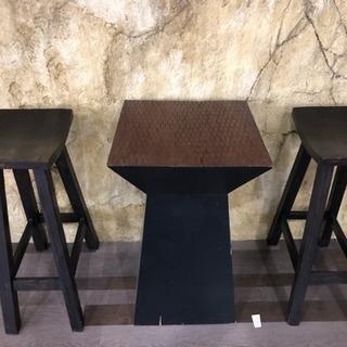 アンティーク スタンディングテーブル 椅子2脚セット