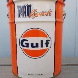 中古 おしゃれなGulfペール缶(オレンジ&白)
