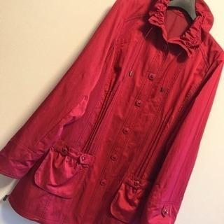 【新品】赤 ロングコート ジャンバー  M L 長袖 秋冬 上着 羽織