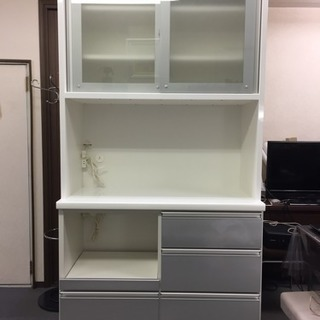 【松田家具】ミドルハイカウンター食器棚 W100 日本製 美品