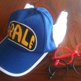 アラレちゃん 帽子(ブルー)&メガネ(赤 &黒)セット