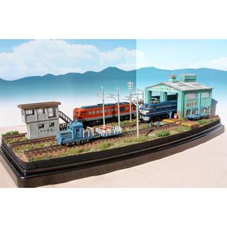 Nゲージ ジオラマ 完成品 車両機関庫と保線区車両 ジオコレ
