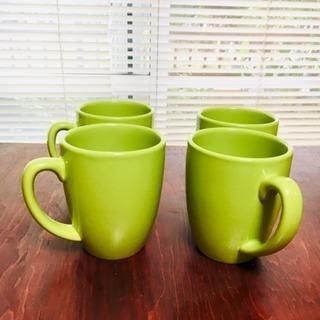 コレールの綺麗なイエローグリーンのマグカップ4個セット