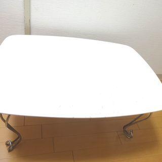 折り畳みローテーブル 白 キズ汚れあり 幅70cm 奥行50cm ...