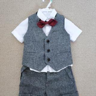 美品 ベビー服 スーツ3点セット 半袖
