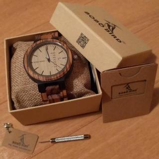 海外限定! 木製 腕時計 bobobird カレンダー機能付き 白 黒