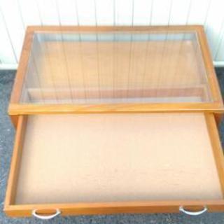 ローテーブル センターテーブル 収納付き ガラス天板 アンティーク ヴィンテージ - 家具