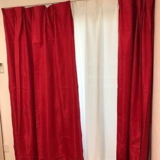 遮光カーテン&ミラーカーテン 4枚セット 赤 レッド