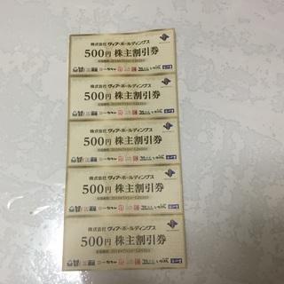 ヴィア・ホールディングス 株主割引券 5枚 2500円分 送料込み