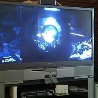 引き取り希望  57インチ 大画面液晶リアプロジェクションテレビ リビングステーション リモコン専用ラック付き - 木津川市