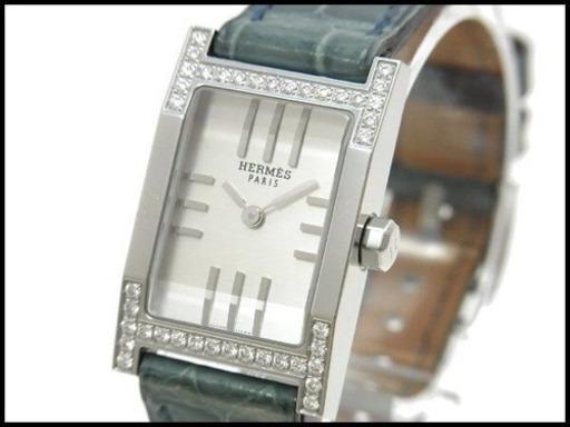 145280f3c8fd HERMES エルメス タンデム ダイヤベゼル TA1 230 クロコ革ベルト 腕時計 レディースの画像
