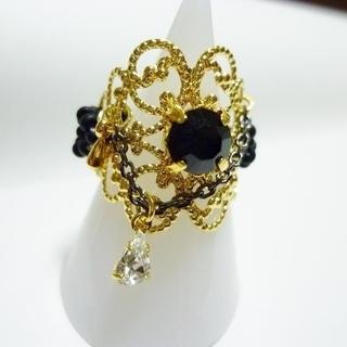 座金とスワロのリング(ゴールド×ブラック) 04001