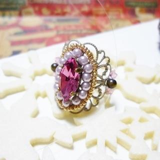 秋冬♪座金とスワロのリング(ピンク系)04025