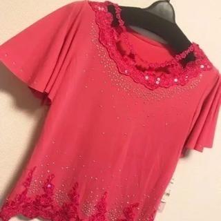 【新品】ピンク 赤 Tシャツ 半袖 刺繍 フリル ラメ L M ...
