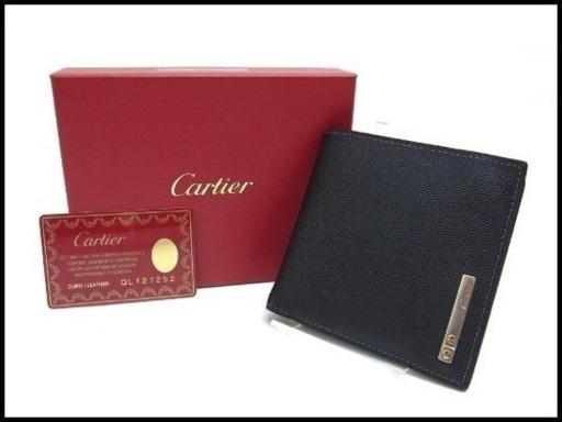 e152673426e9 Cartier カルティエ サントス レザー メンズ 二つ折り財布 小銭入れ付 折りたたみの画像