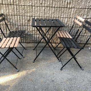 ★【中古】屋外用テーブル 椅子 5点セット IKEA テルノー アウトドアの画像