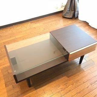 ローテーブル リビングテーブル 木製 ガラス ブラウンの画像