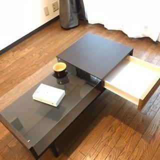 ローテーブル リビングテーブル 木製 ガラス ブラウン - 京都市