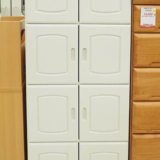扉付き収納棚 ホワイト 4段  幅60cm 奥行 31.5cm 高さ 153.5cm - 札幌市