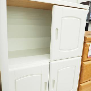 扉付き収納棚 ホワイト 4段  幅60cm 奥行 31.5cm 高さ 153.5cm - 家具