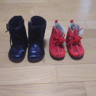 13cmブーツこげ茶色と赤