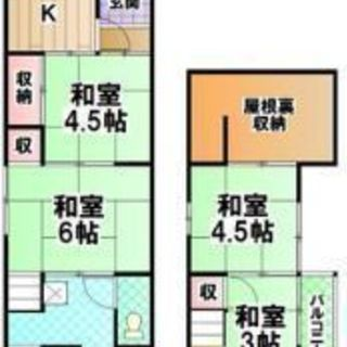 家主直●泉大津市助松町55平米広くてゆったり住める貸家、家賃3万6...