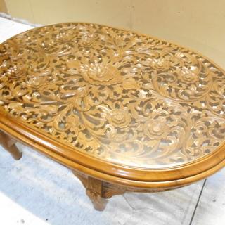 花の木彫りの木製ガラステーブル『美品中古』【リサイクルショップサルフ】