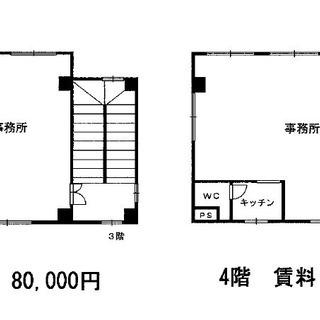 【御願塚】事務所 4階建て3階部分(用途変更可能) オーナー直接契...
