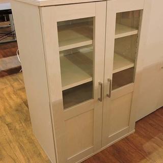 北大前! 札幌 引取り 中型食器棚 収納棚 ホワイト キッチン収納...
