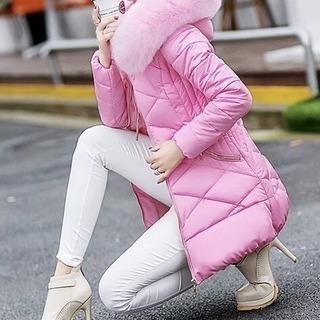 【新品未使用】ダウン風コート/レディース中綿コート/ファーフード付き