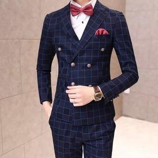 【新品未使用】上質 メンズ 正装 チェック柄スーツ スリピース 紺...