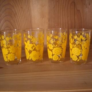 昭和レトロ◆ガラスコップ◆黄色花柄◆アンティーク