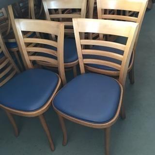 木製椅子 4脚セット 座青ビニール オリバー